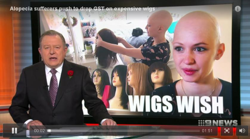 Channel Nine News: Alopecia sufferers push to drop GST on expensive wigs